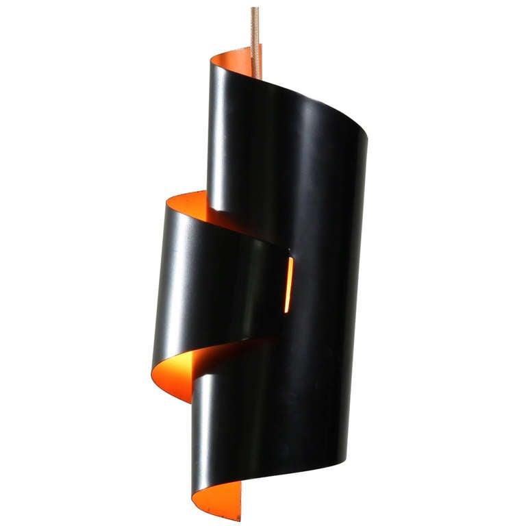 Black and orange swirl pendant lamp by simon henningsen for Divan 2 lampe