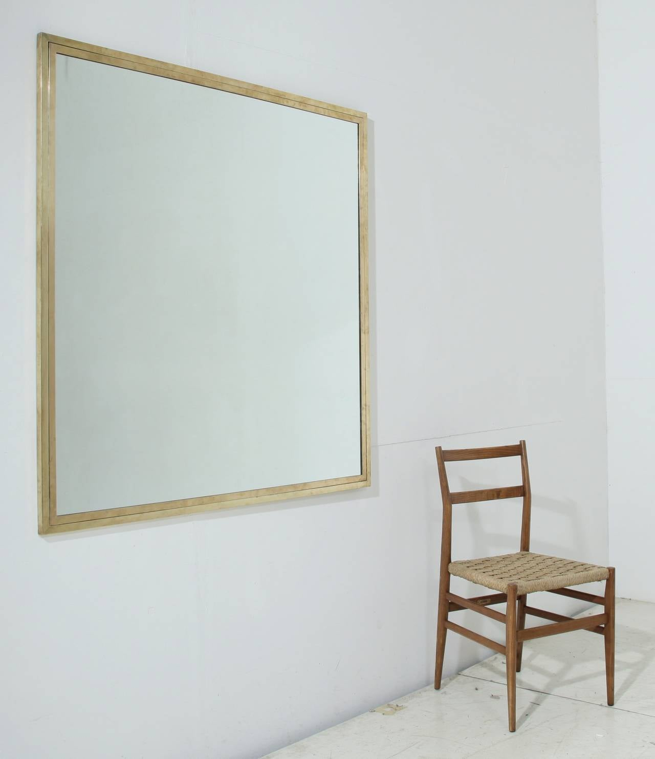 Mid Century Modern Italian 1950s Double Brass Framed Large Overmantel Or Wall Mirror For