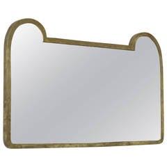 1950s Italian Mirror with Heavy Brass Frame