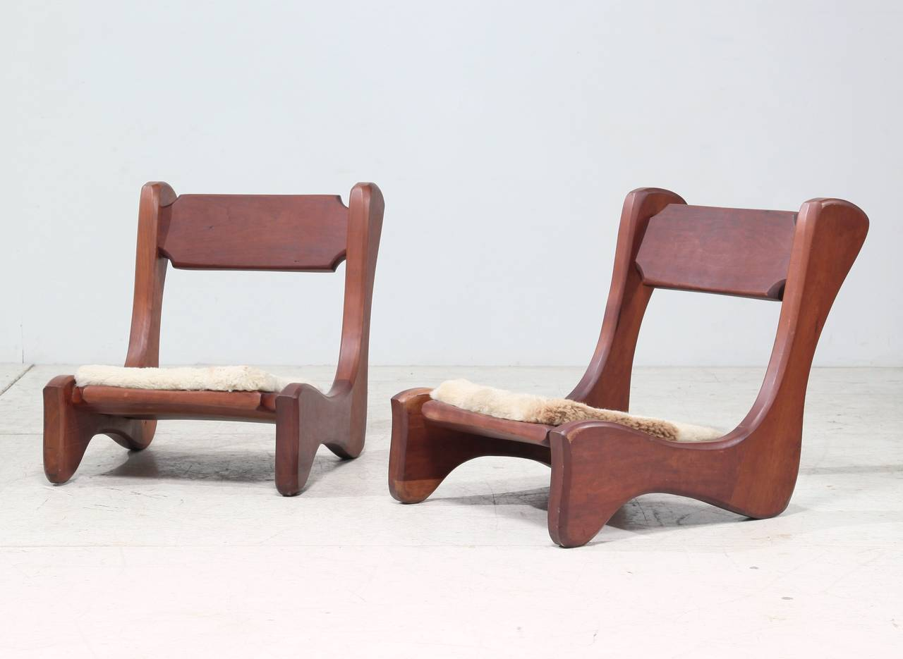 Pair Of American Mid Century Low Chairs 2
