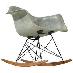 Seafoam Rope Edge Eames Armshell on an Early Edition Rockerbase