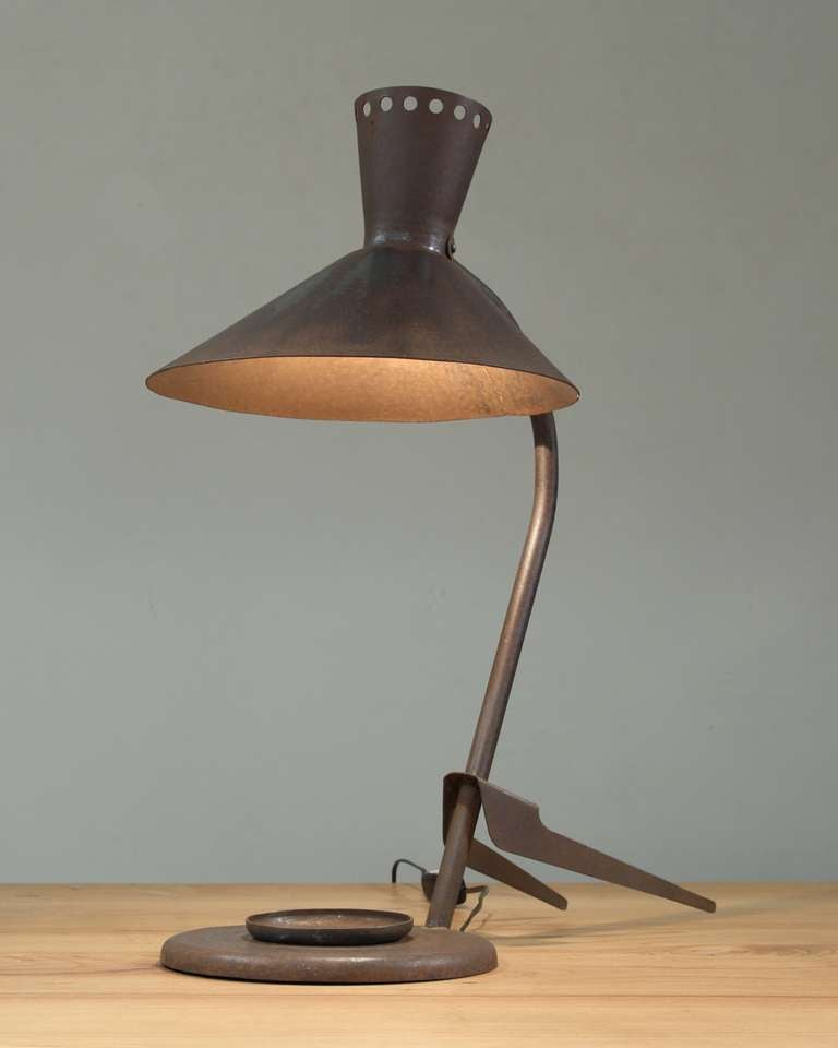 Metal Table Lamps : Dark Rusty Metal Industrial Table Lamp, France, 1950s For Sale at ...