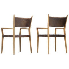 Paul McCobb Pair of Armchairs for Directional with Woven Leather Seats