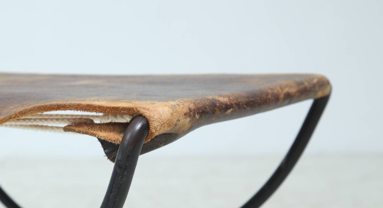 Mid Century Metal And Leather Stool Or Hocker At 1stdibs