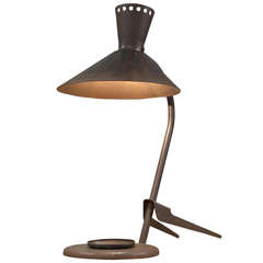 Dark Rusty Metal Industrial Table Lamp, France, 1950s
