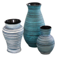 Set of Three Accolay Ceramic Vases, 1950s, France