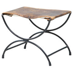 Mid-Century Metal and Leather Stool or Hocker
