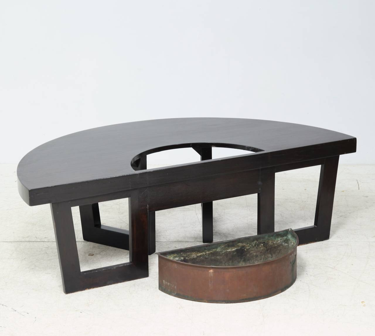 Harvey Probber Semi Circle Coffee Table With Inserted