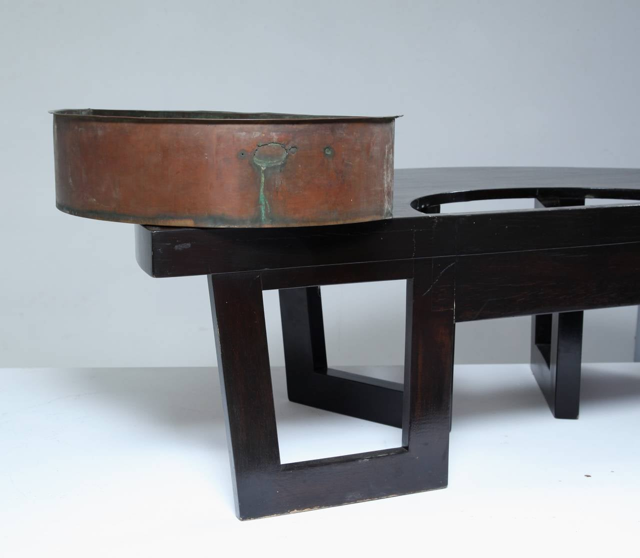 Harvey Probber Semi Circle Coffee Table with Inserted Copper Planter ...
