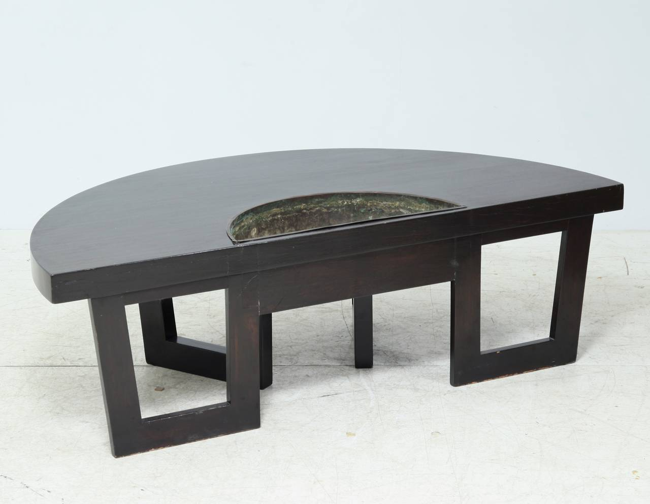 Mid 20th Century Harvey Probber Semi Circle Coffee Table With Inserted  Copper Planter For Sale