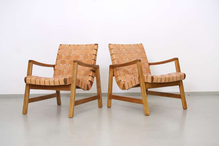 Early Pair Of 652 W Lounge Chairs By Jens Risom For Knoll 2