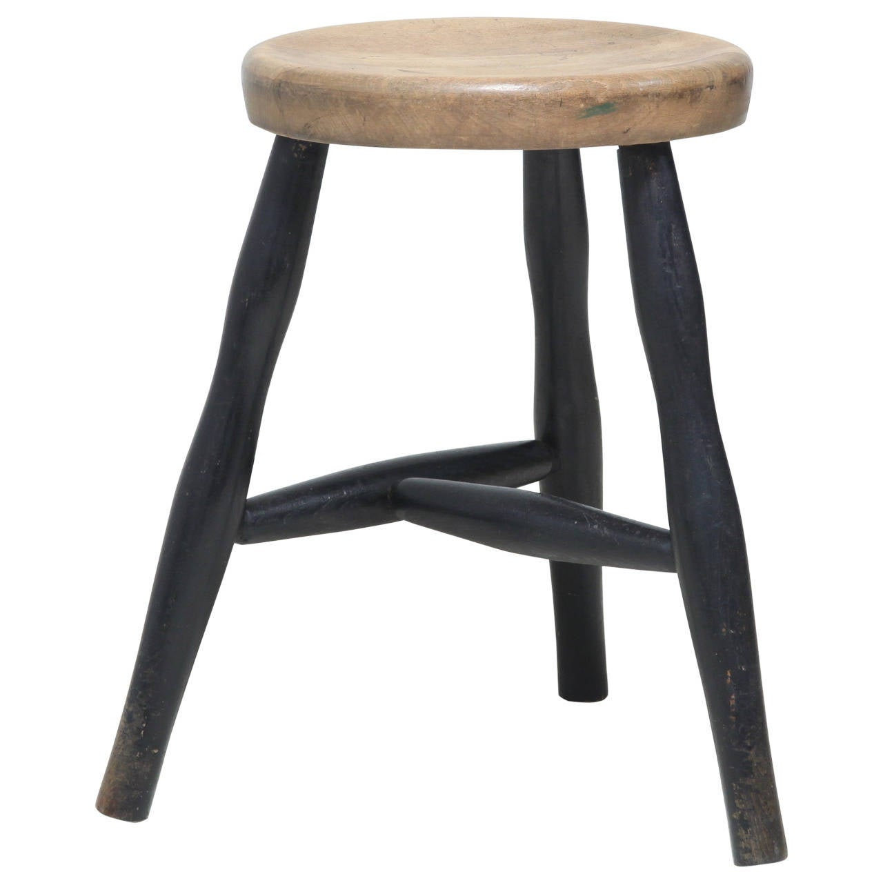 Tribase Stool with Thick Wooden Seat