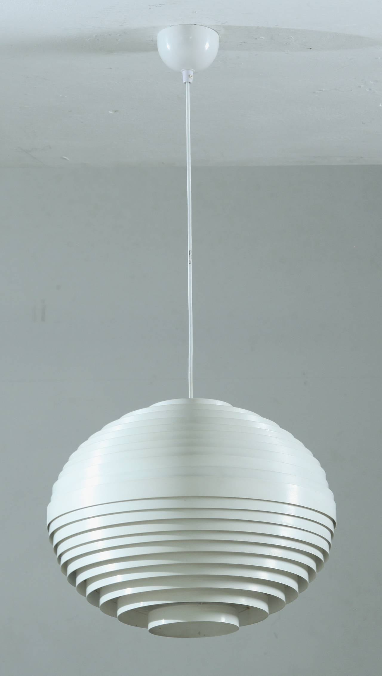 White Moon Lamp With Metal Louvre Rings At 1stdibs