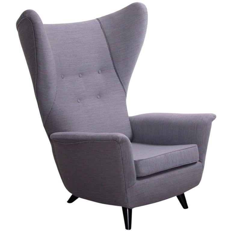Italian Lounge Wing Back Arm Chair In The Manner Of Gio