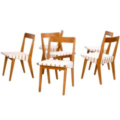 Set of 6 Jens Risom 666 WSP Dining Chairs in ash by Knoll