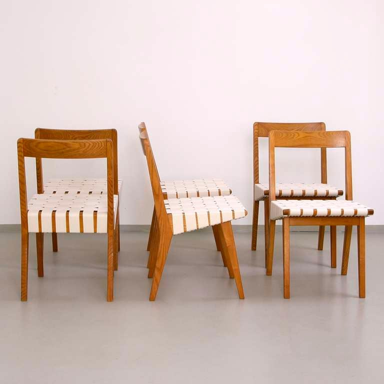 Set of 6 jens risom 666 wsp dining chairs in ash by knoll at 1stdibs - Jens risom dining chairs ...