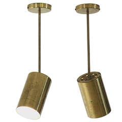 Pair Pivoting Brass Spotlights