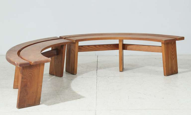 A Set Of Two Wooden S38 Benches By Pierre Chapo These Have
