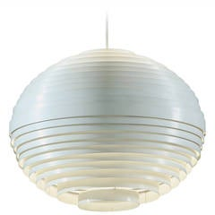 White Moon Lamp with Metal Louvre Rings