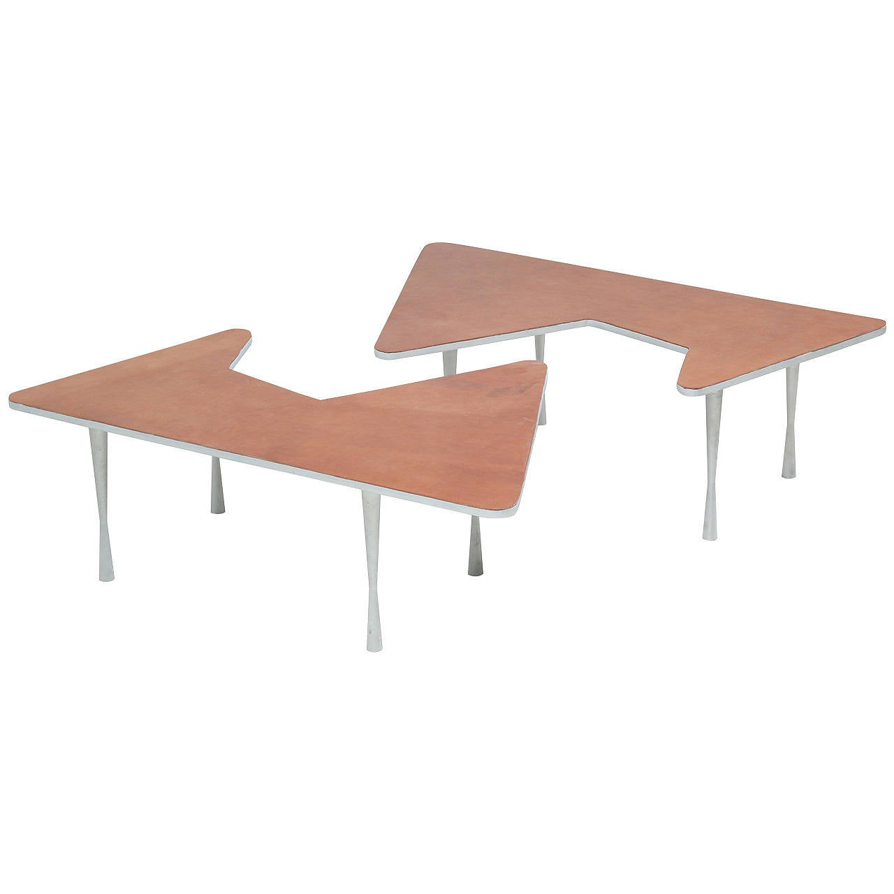 Free form aluminum coffee tables with leather top for sale at 1stdibs Coffee table with leather top
