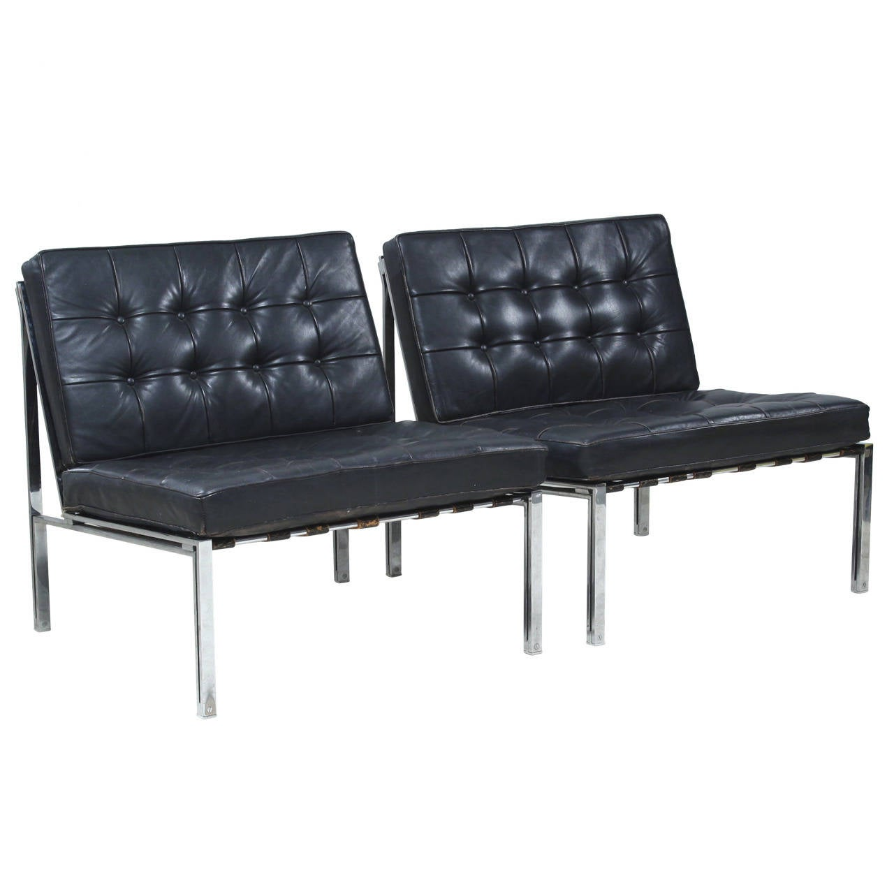 John Widdicomb Furniture For Sale ... Side Chairs with Black Leather Tufted Cushions For Sale at 1stdibs