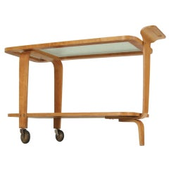 Willem Lutjens plywood and glass tea trolley, Netherlands, 1950s