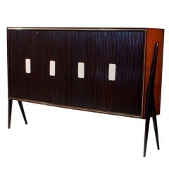 Vittorio Dassi Large Mahogany Sideboard with Alabaster Grips, Italy, 1950s