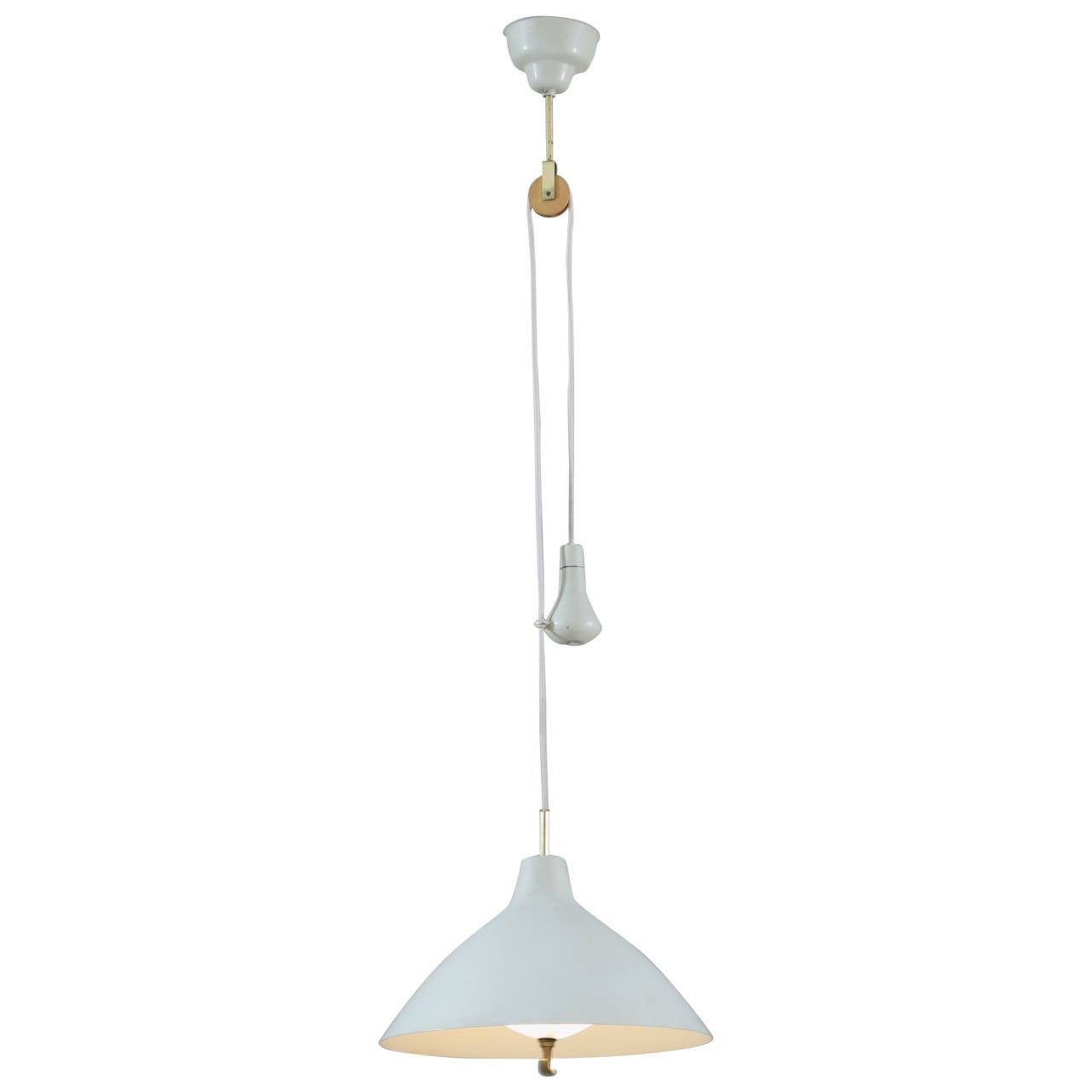 Lacquered ASEA pendant lamp with counterweight, 1950s