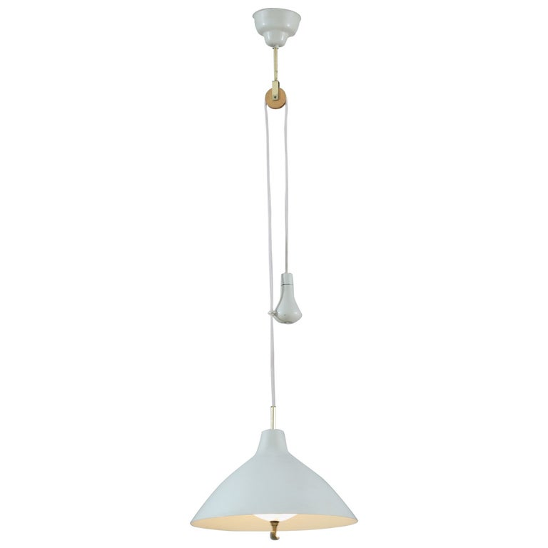 White Lacquered Metal ASEA Pendant Lamp with a Counterweight, Sweden, 1950s For Sale
