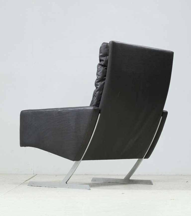 Mid-Century Modern Preben Fabricius High Back BO 701 Chair in Brown Leather, Germany, 1970 For Sale