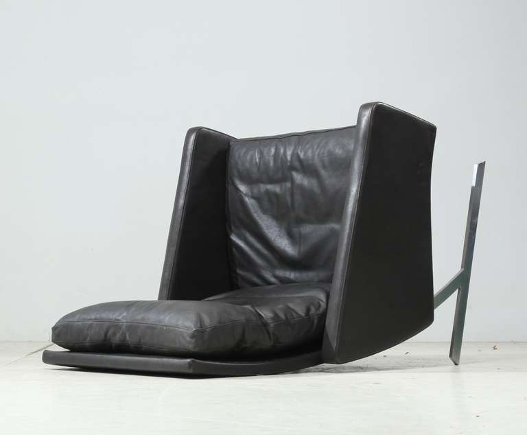 Preben Fabricius High Back BO 701 Chair in Brown Leather, Germany, 1970 For Sale 2