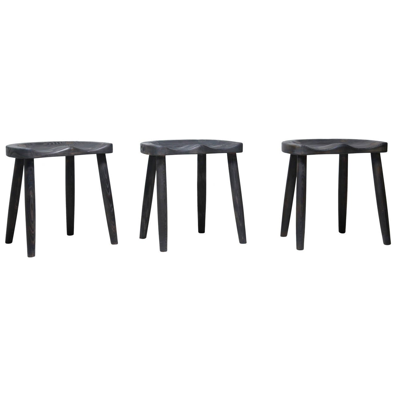 Studio Stools in Blackened Wood by Robert Roakes, USA, 1970s