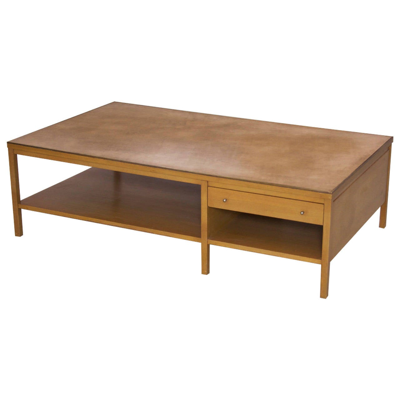 Rare Paul Mccobb Coffee Table With Leather Top For Calvin At 1stdibs