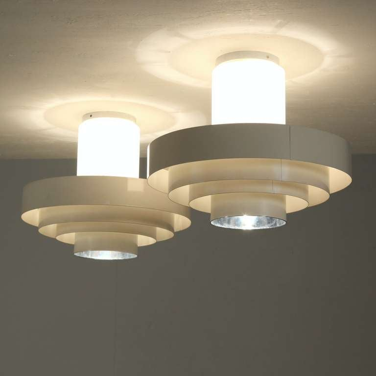 Mid-Century Modern Pair of 1960s Off-White Ceiling Fixtures In Glass And Metal For Sale