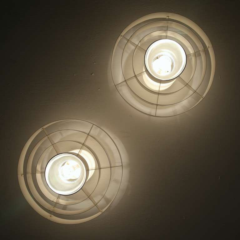 European Pair of 1960s Off-White Ceiling Fixtures In Glass And Metal For Sale