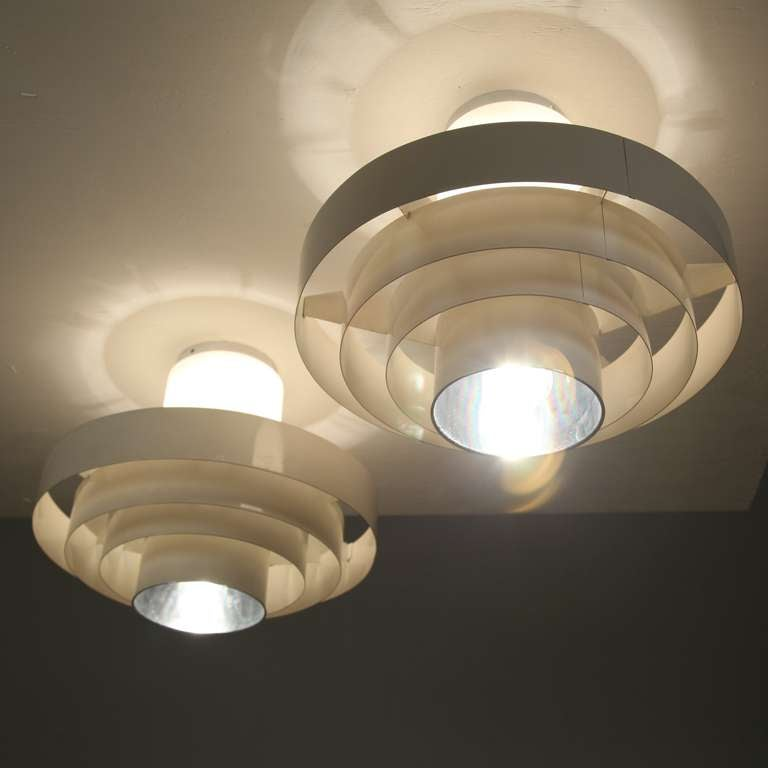Pair of 1960s Off-White Ceiling Fixtures In Glass And Metal In Good Condition For Sale In Maastricht, NL