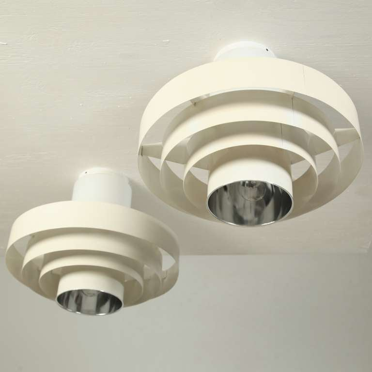 Mid-20th Century Pair of 1960s Off-White Ceiling Fixtures In Glass And Metal For Sale