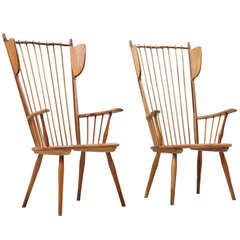 Rare Pair of Haberer Wingback Chairs