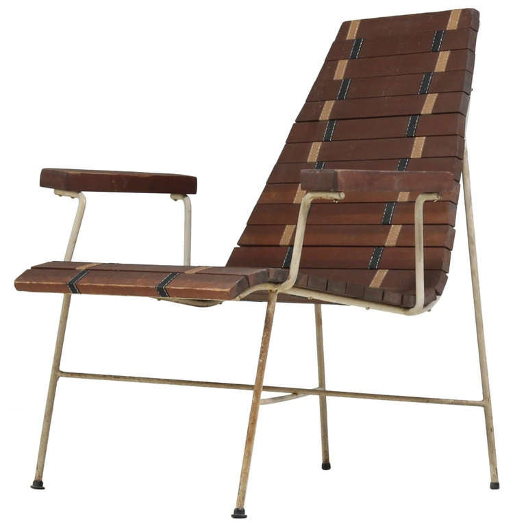 rare mid century modern chair in oregon pine and metal at 1stdibs
