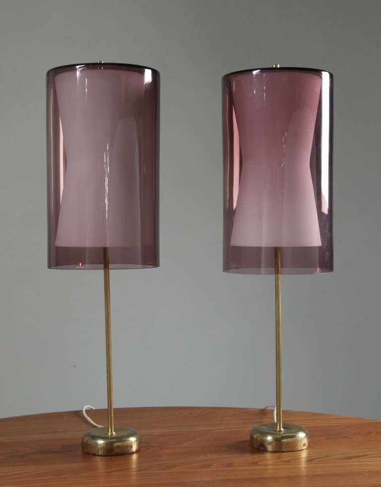 Pair idman table lamps with lilac iittala shade tapio wirkkala mid century modern pair idman table lamps with lilac iittala shade tapio wirkkala aloadofball Gallery