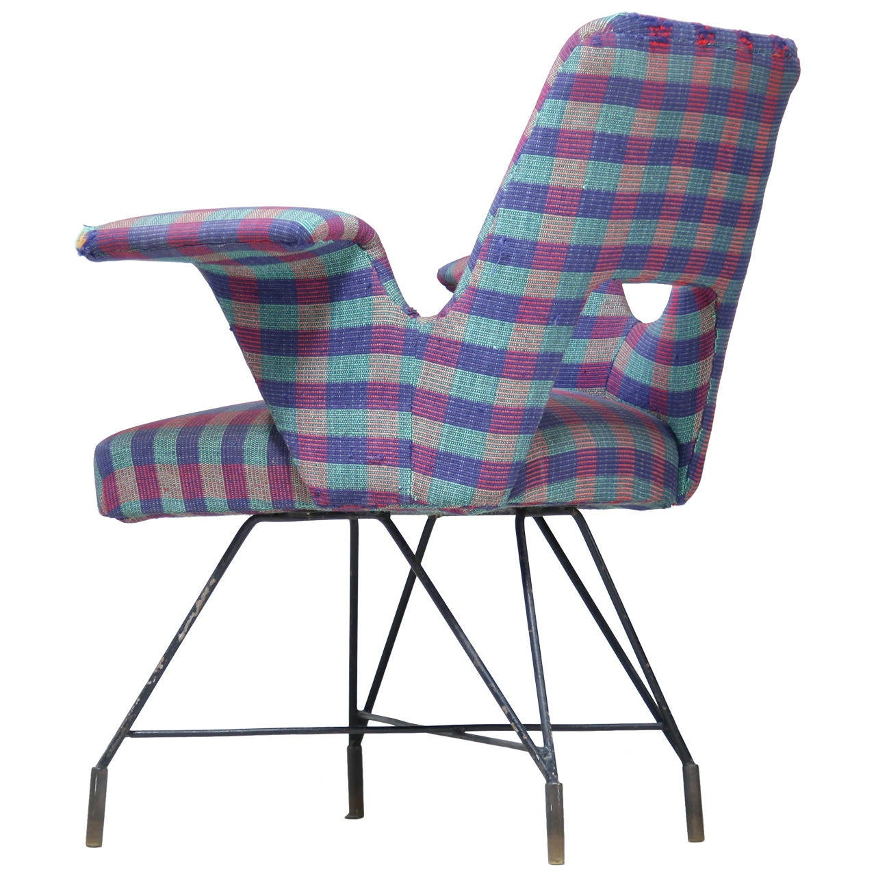 BBPR Curved Arm Lounge Chair with Original Fabric at 1stdibs