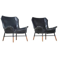 Rare Pair of BBPR 'Giulietta' Lounge Chairs for Arflex