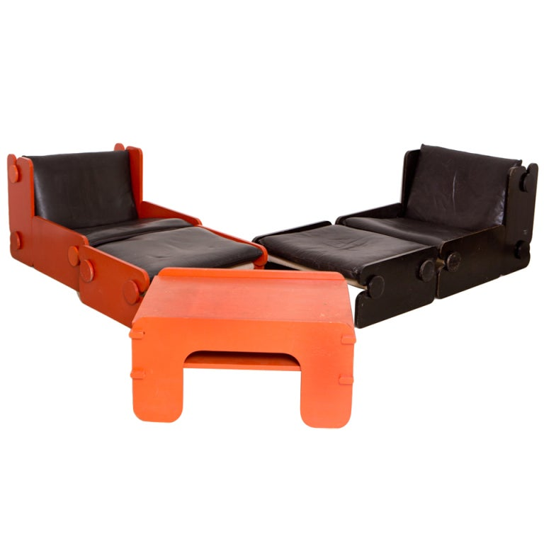 Pair black and red lounge chairs with ottoman and matching for Matching lounge furniture