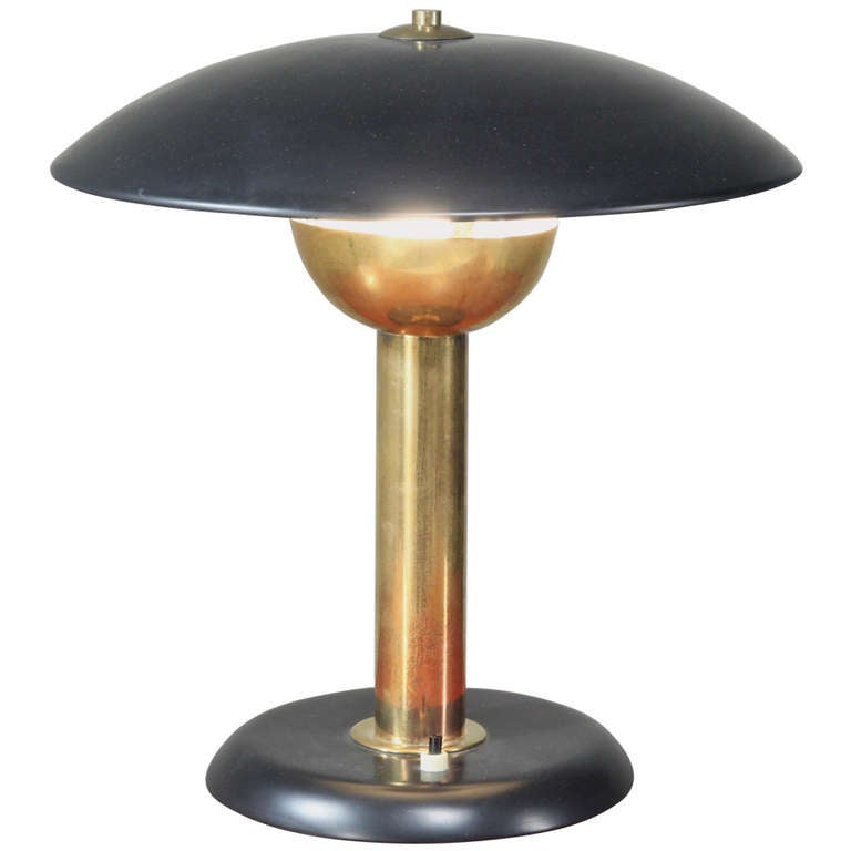 Italian Black Metal and Brass Table Lamp, Italy, 1950s