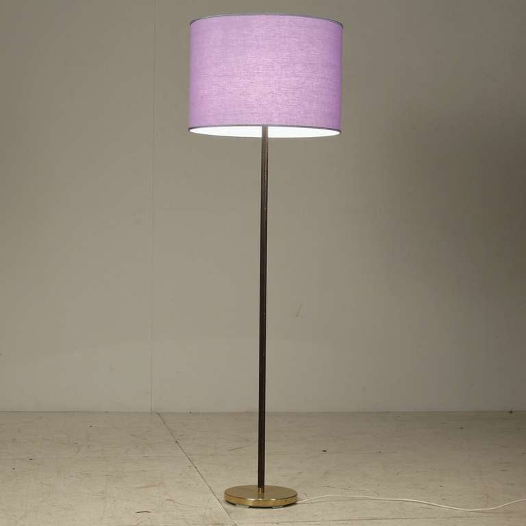 Pair Kalmar Brass And Leather Floorlamps With Violet Shade