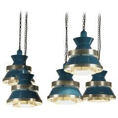 Set of 4 Danish Industrial Pendants In Enameled Brass, 1950s