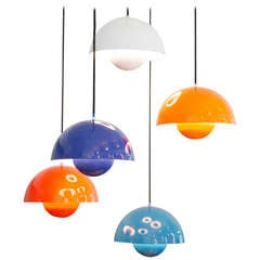 Set of 5 Verner Panton Flower Pot Lamps