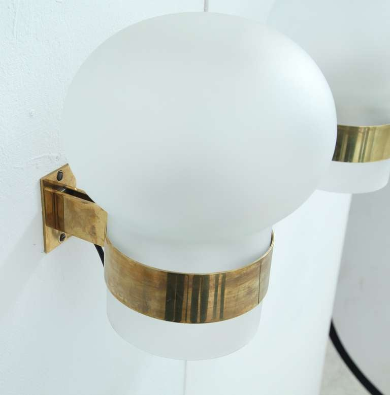Wall Sconces Glass Shades : Fontana Arte Pair of Wall Sconces, Frosted Glass Shades with Brass, Italy, 1960s For Sale at 1stdibs