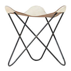 White Leather Butterfly Stool