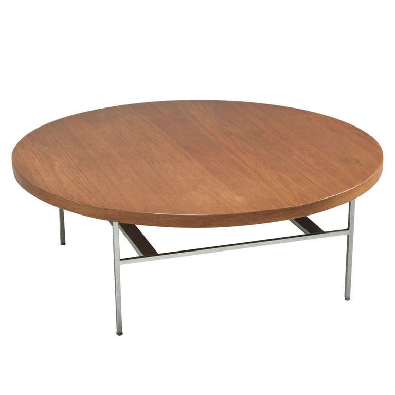 Large Round George Nelson Coffee Table In Walnut For Sale At 1stdibs